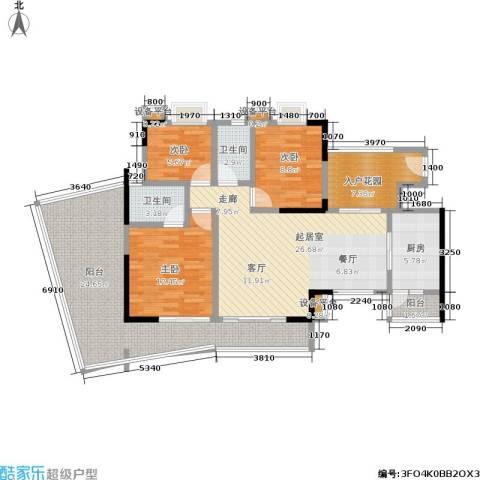 现代城市花园3室0厅2卫1厨115.00㎡户型图