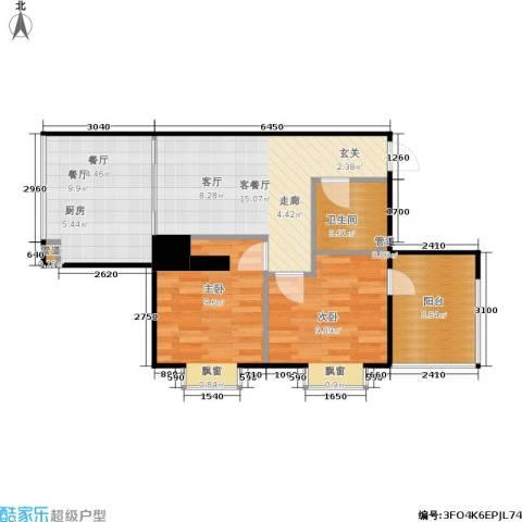 西荷丰润国际公寓2室2厅1卫0厨86.00㎡户型图