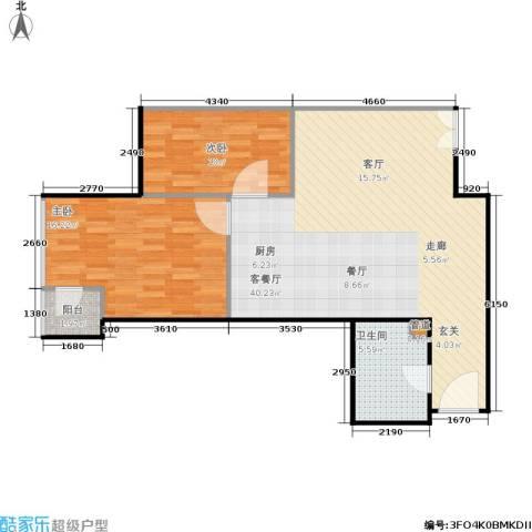 银座晶都国际2室1厅1卫0厨74.17㎡户型图