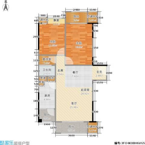 广州奥林匹克花园2室0厅1卫1厨86.00㎡户型图