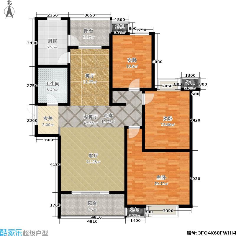 山水泉城129.75㎡二期 三室两厅一卫户型3室2厅1卫