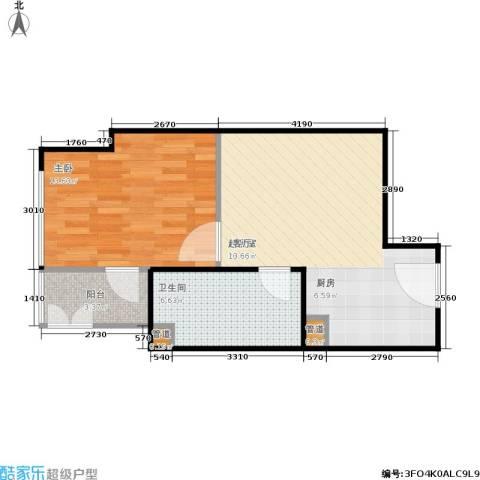 银座晶都国际1室0厅1卫0厨44.37㎡户型图