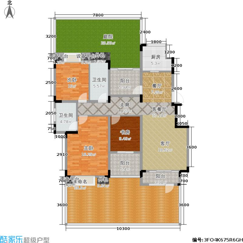同景国际城馥山108.03㎡C-1F户型 套内面积108.03㎡ 两室两厅双卫 多功能室户型2室2厅2卫