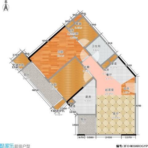 广州奥林匹克花园2室0厅2卫1厨96.00㎡户型图