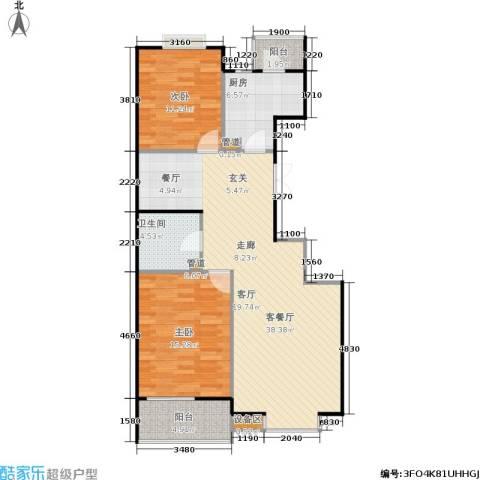 京鲁山庄2室1厅1卫1厨113.00㎡户型图