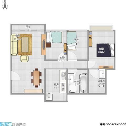 梅花豪庭3室1厅2卫1厨63.00㎡户型图