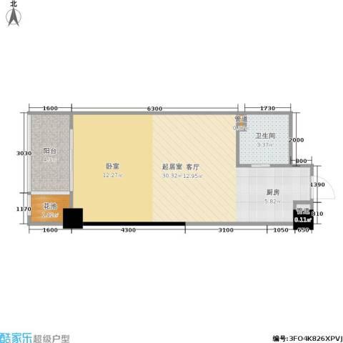 紫薇尚层1卫0厨45.00㎡户型图