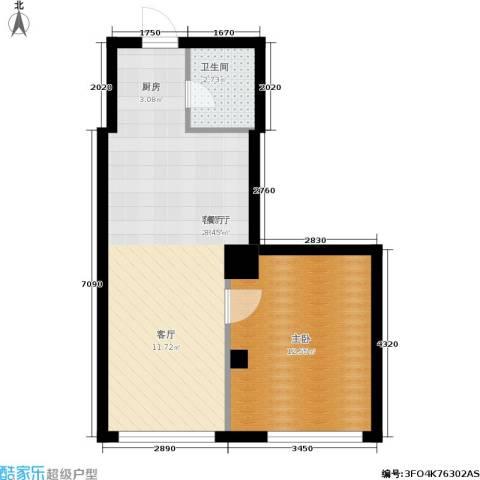 景阳SOHO1室1厅1卫0厨55.00㎡户型图