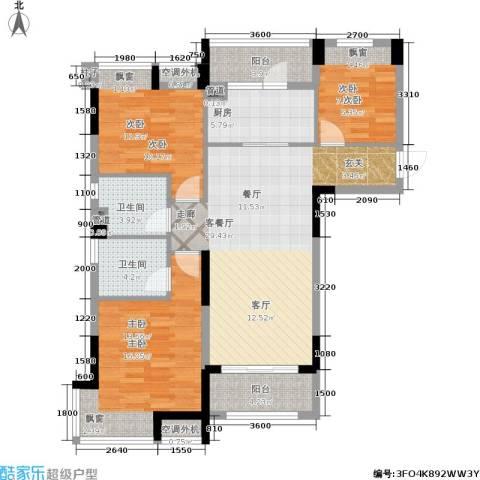 碧桂园滨湖城3室1厅2卫1厨127.00㎡户型图