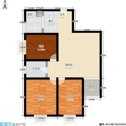 蔚蓝印象3室0厅1卫1厨105.00㎡户型图