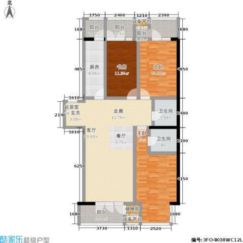 望庭国际3室0厅2卫1厨160.00㎡户型图