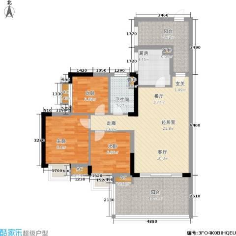 华南碧桂园3室0厅1卫1厨80.00㎡户型图