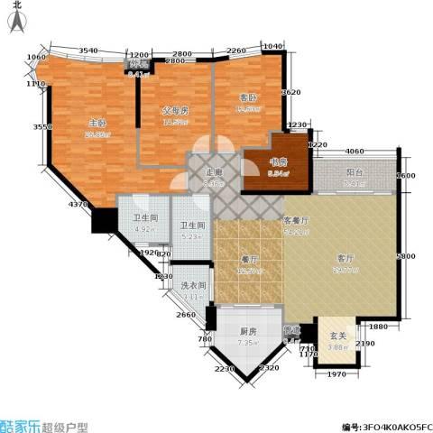 华标涛景湾3室1厅2卫1厨157.00㎡户型图