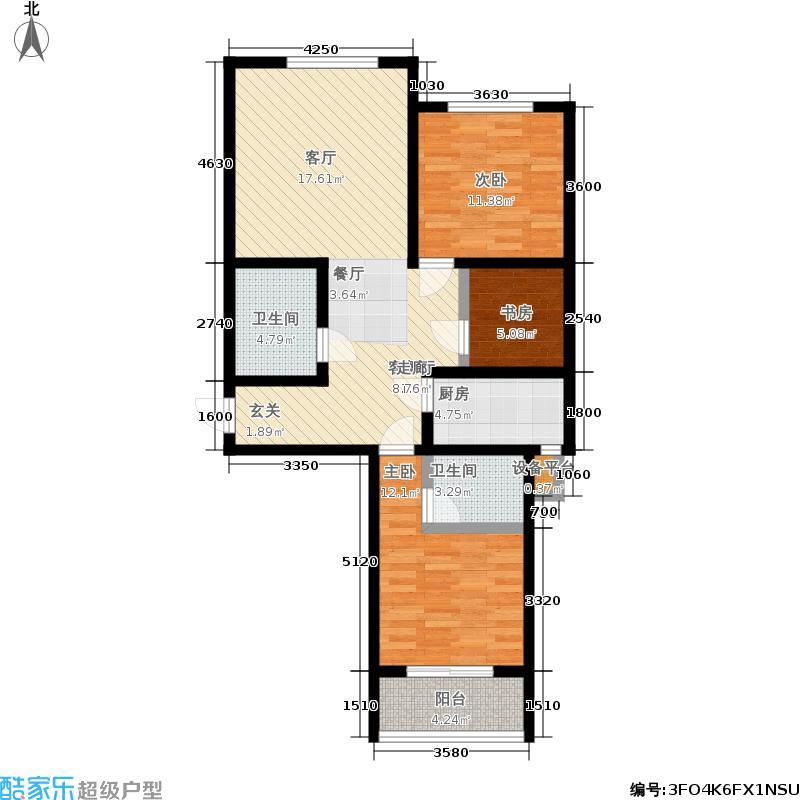 东方锦绣城G户型 两室一厅两卫户型2室1厅2卫
