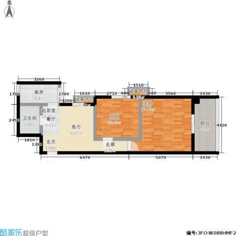 南方星座2室0厅1卫1厨86.00㎡户型图