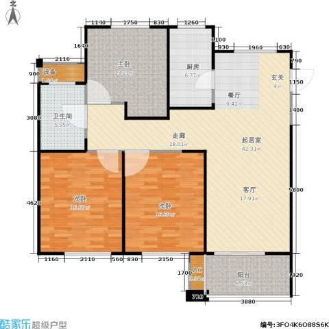 长江国际花园二期3室0厅1卫1厨118.00㎡户型图