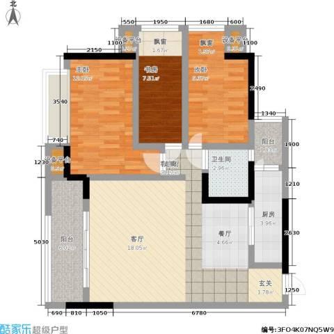 合正锦园3室1厅1卫1厨90.00㎡户型图