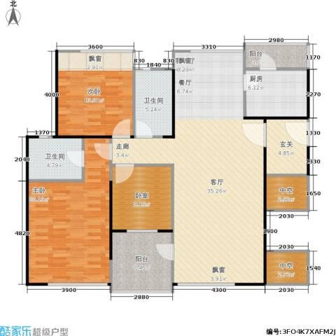 万科金域蓝湾2室1厅2卫1厨132.00㎡户型图