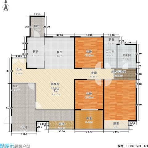 万科金域蓝湾3室1厅2卫1厨221.00㎡户型图