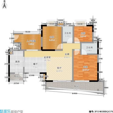 现代城市花园3室0厅2卫1厨104.00㎡户型图