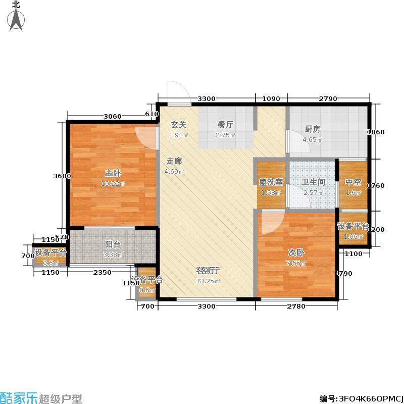 重汽翡翠清河74.00㎡H6-2 两室两厅一卫户型2室2厅1卫