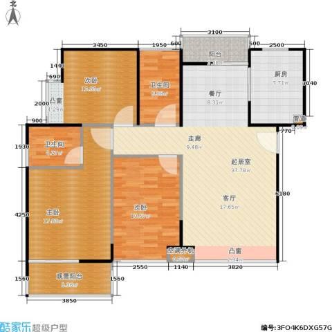 鸿基新城3室0厅2卫1厨117.00㎡户型图