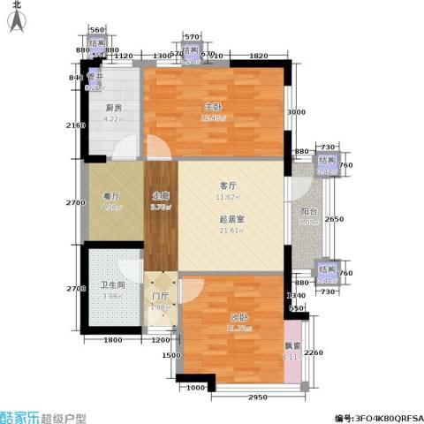 中海华庭2室0厅1卫1厨80.00㎡户型图