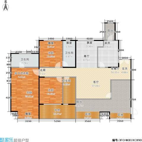 万科金域蓝湾3室1厅3卫1厨241.00㎡户型图