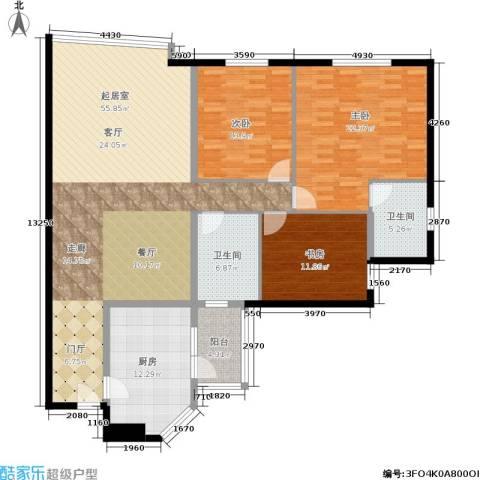 蝶翠华庭3室0厅2卫1厨147.00㎡户型图