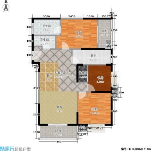 东方米兰3室1厅2卫1厨122.00㎡户型图