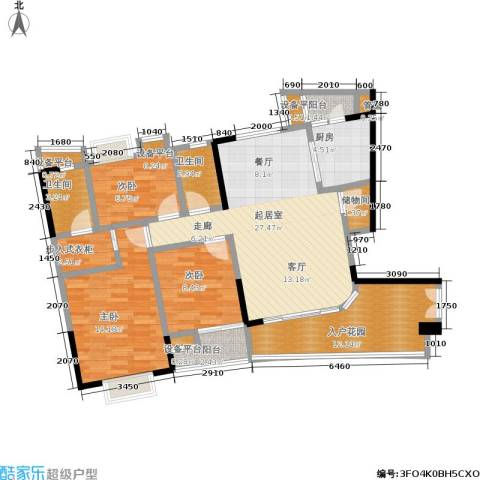 现代城市花园3室0厅2卫1厨106.00㎡户型图