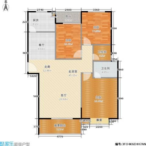 鸿基新城3室0厅2卫1厨121.00㎡户型图