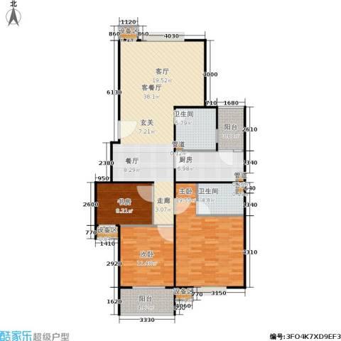 君逸左岸3室1厅2卫1厨144.00㎡户型图