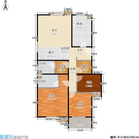 君逸左岸3室0厅2卫1厨106.00㎡户型图