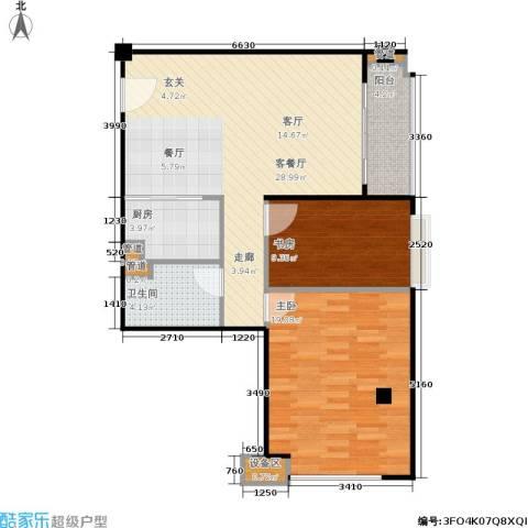 东城国际公寓2室1厅1卫1厨96.00㎡户型图