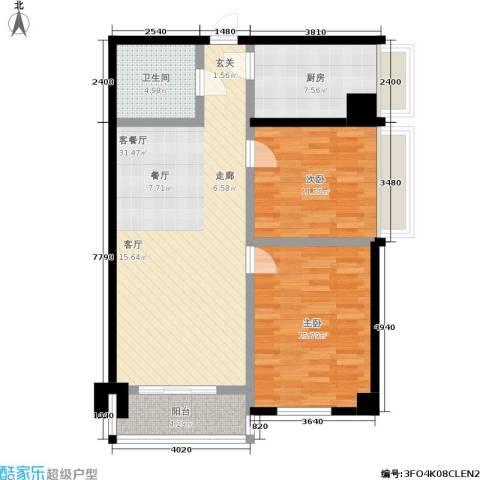 桐树湾2室1厅1卫1厨87.10㎡户型图