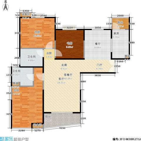 信政天鹅湾3室1厅2卫1厨132.00㎡户型图