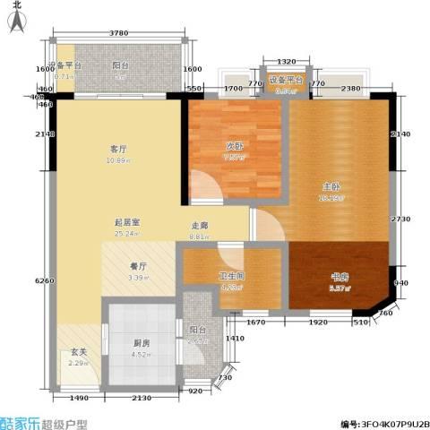 宏康东筑2室0厅1卫1厨98.00㎡户型图