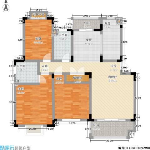 御庭苑3室1厅2卫1厨120.00㎡户型图