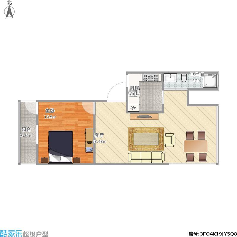 华蓥50方A1户型一室一厅
