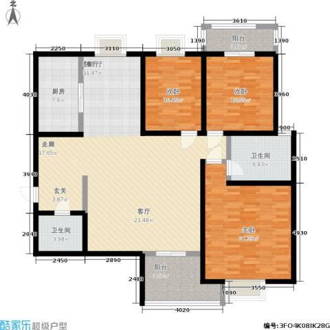 桐树湾3室1厅2卫1厨145.61㎡户型图