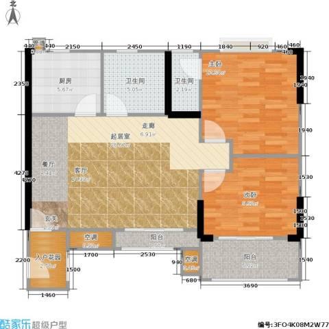 滨江瑞城2室0厅2卫1厨94.00㎡户型图