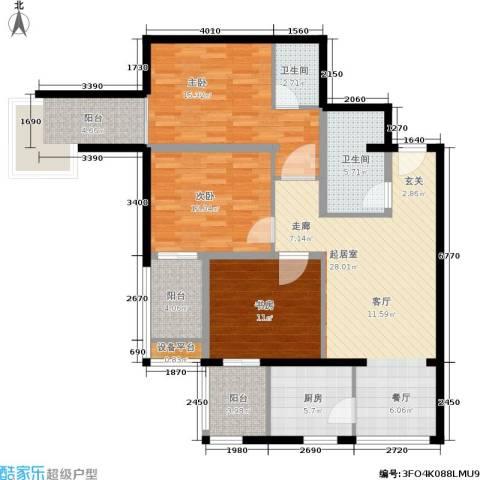 玫瑰坊3室0厅2卫1厨108.00㎡户型图