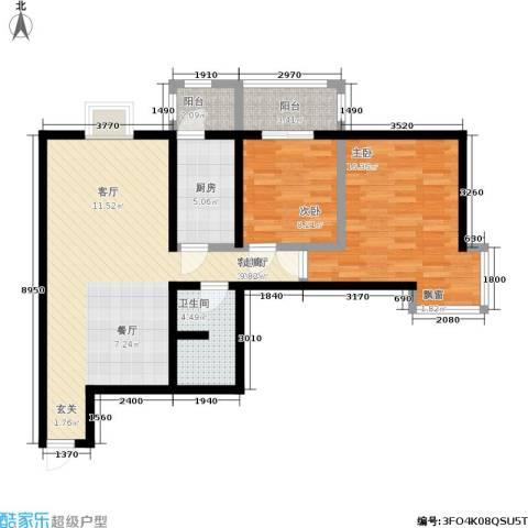 桐树湾2室1厅1卫1厨82.02㎡户型图