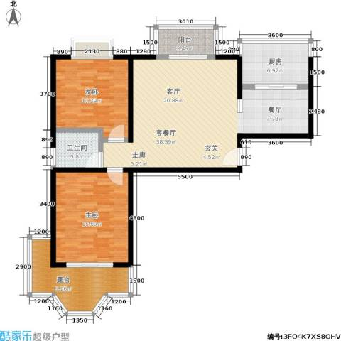名士阁2室1厅1卫1厨105.00㎡户型图