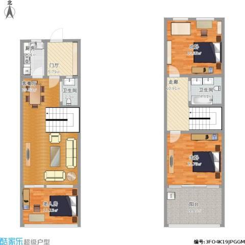 九巨龙.亲爱的villa3室1厅2卫1厨157.00㎡户型图