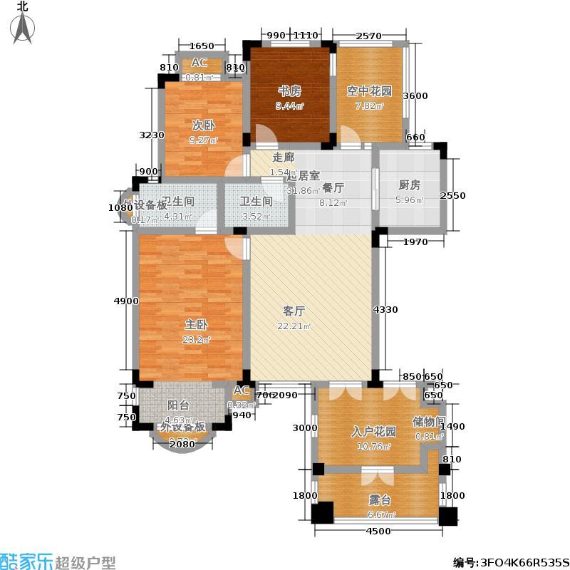 中国诺贝尔城120.00㎡南入户退台花园洋房三层HN-B3户型