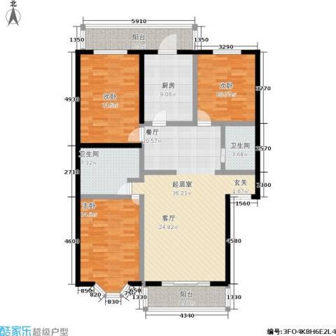 密西花园小区3室0厅2卫1厨124.00㎡户型图