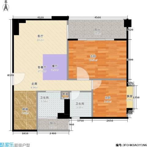 橡树园2室1厅2卫0厨68.76㎡户型图