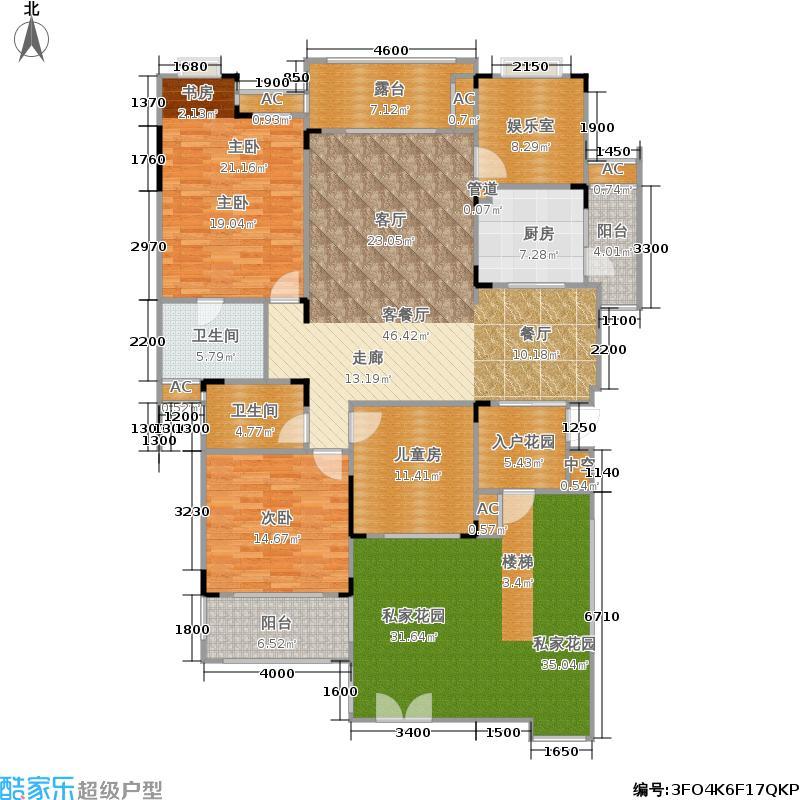 俊峰香格里拉135.90㎡一期20-24号楼中户第2层B2-1户型4室2厅2卫1厨 135.90㎡户型4室2厅2卫